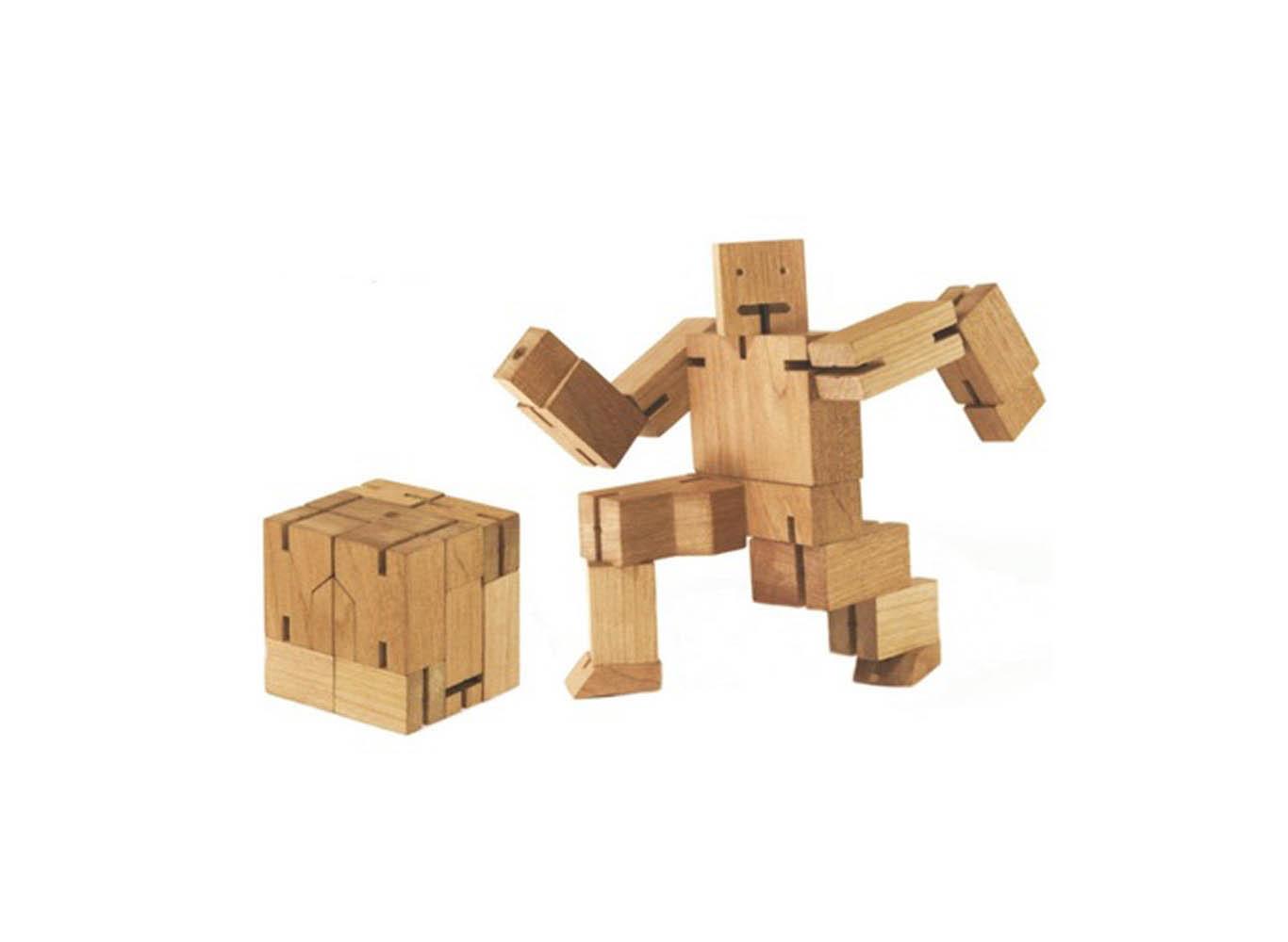 Custom Color Foldable Wood Cube Men Toy Puzzle Robot