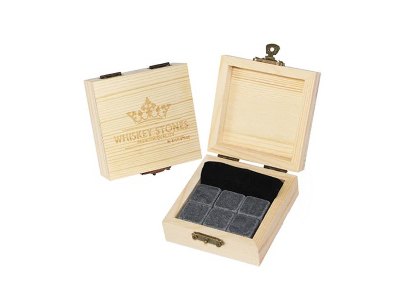 Food-Safe Whiskey Stone Custom Wooden Gift Box Set