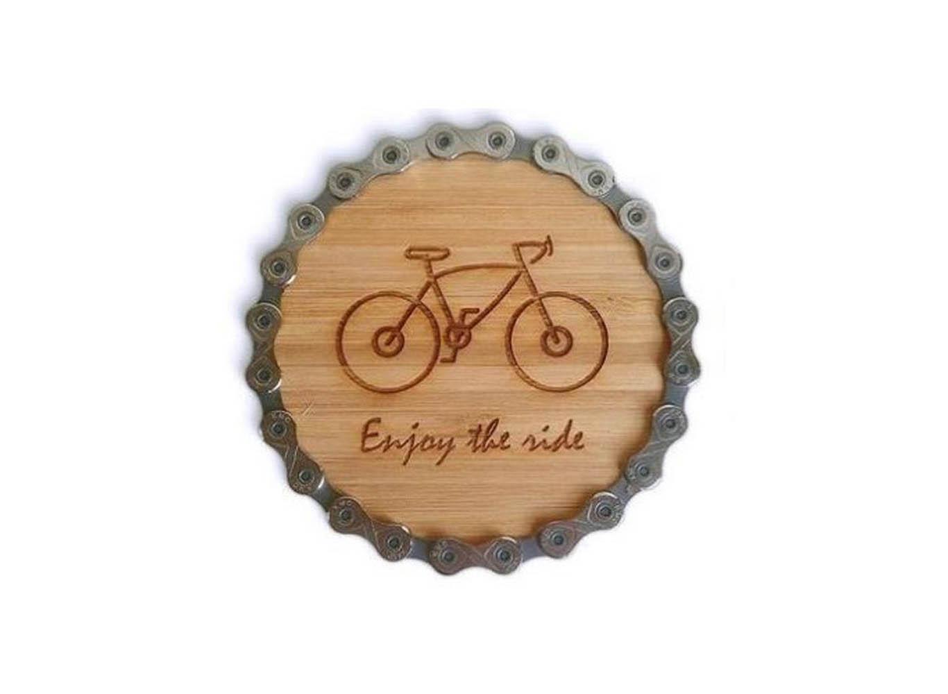 Custom Printed Bike Chain Bamboo Coaster
