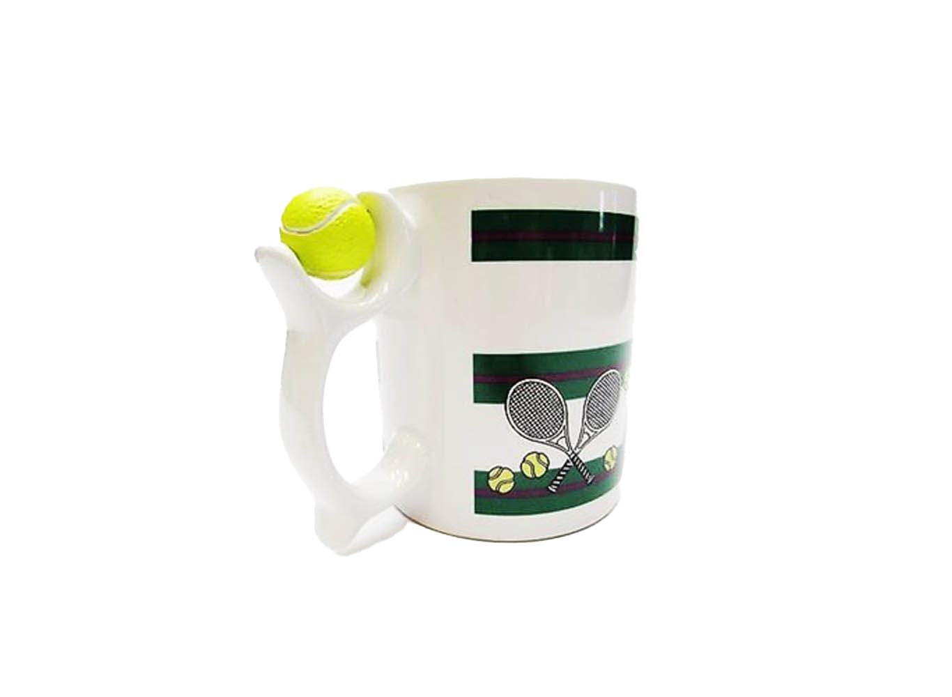 Custom Ceramic Novelty Mug Spinning Tennis Ball on Cup Handle