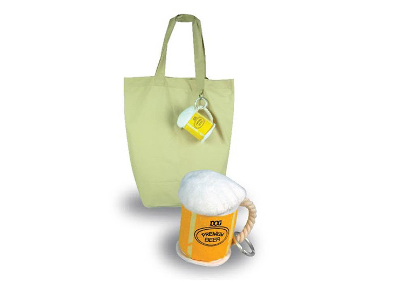 Custom Canvas Shopping Tote Bag w/ Custom Beer Glass Shaped Pouch