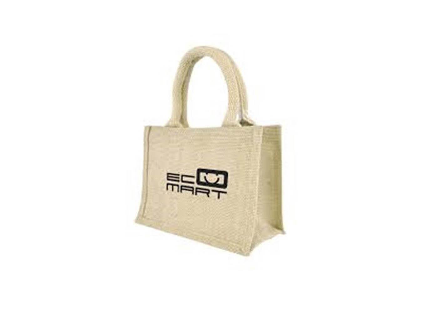 Custom Printed Jute Bag with Webbed Cord Handle