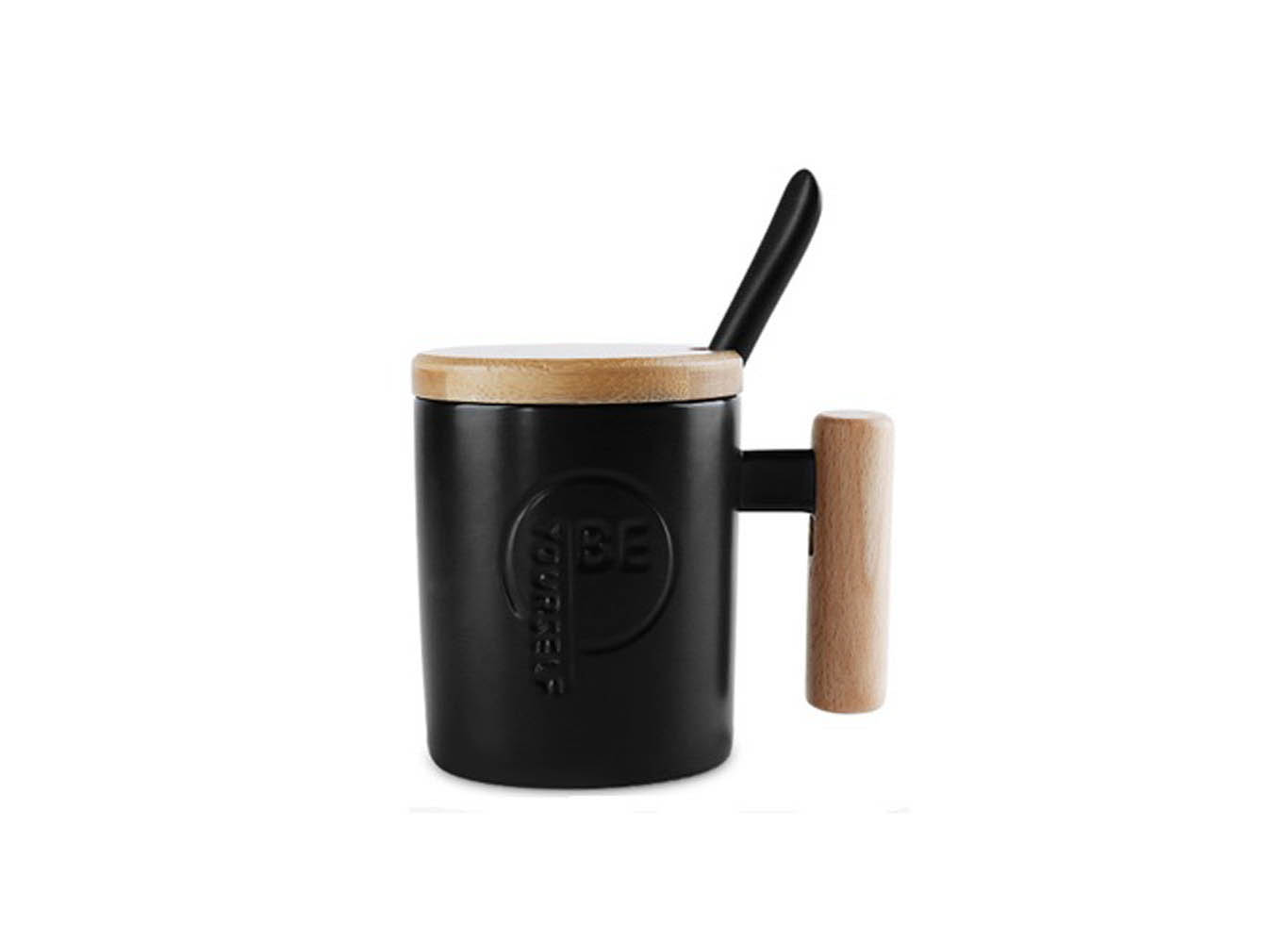 Customized Ceramic Mug w/ Wooden Handle, Lid and Spoon
