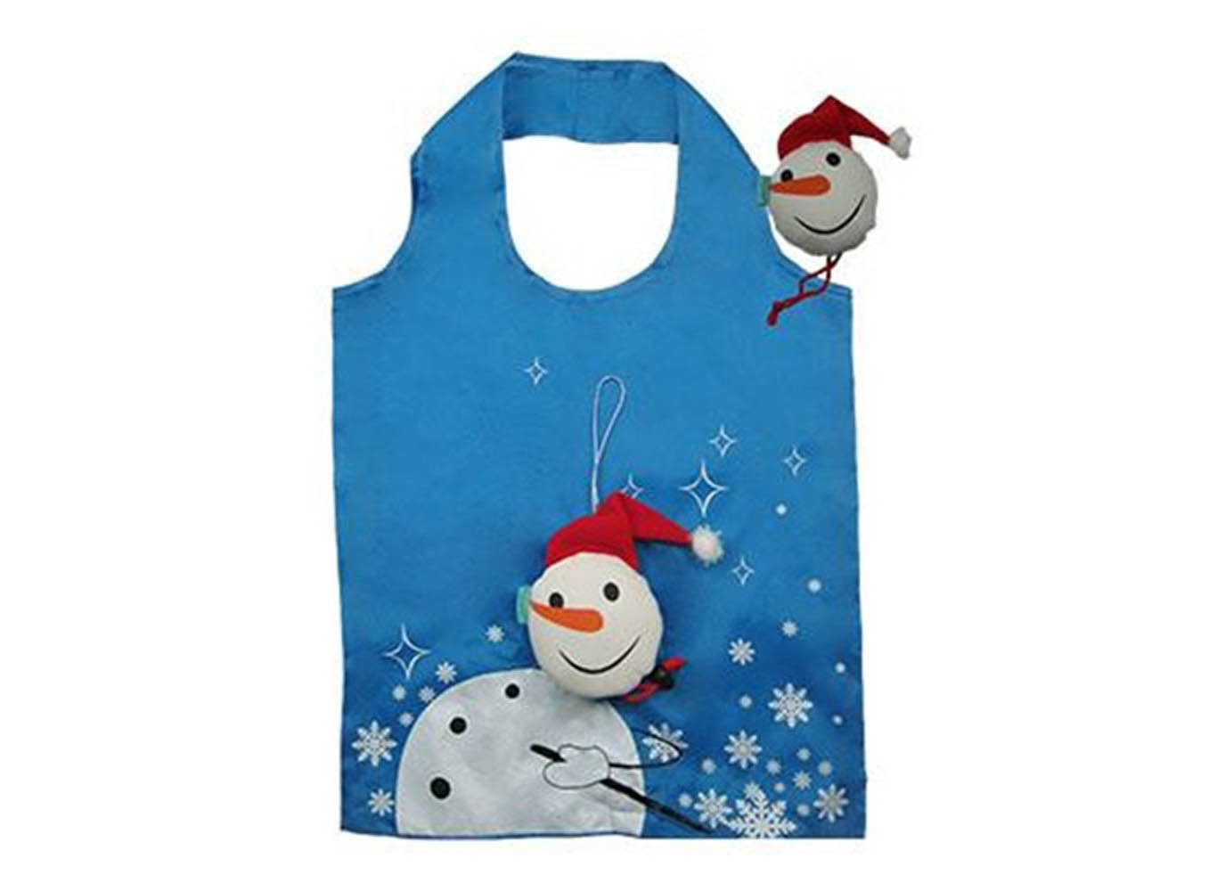 Custom Printed Recycled Plastic RPET Bag w/ Snowman Shaped Pouch