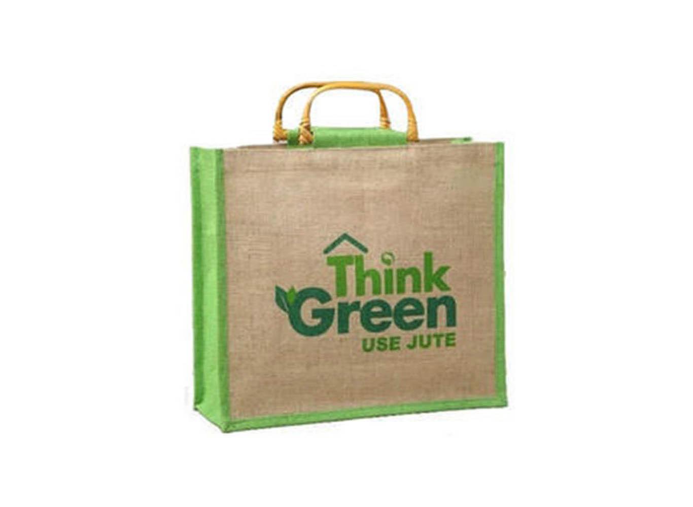 Custom Jute Shopping Bag /w Bamboo Handle