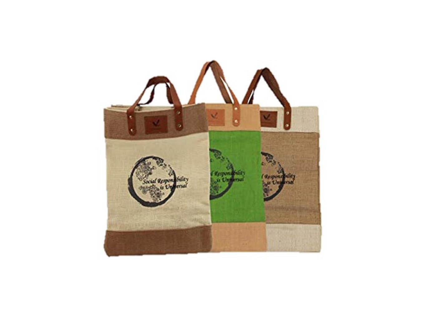 Custom Printed Jute Tote Bag w/ Leather Handle