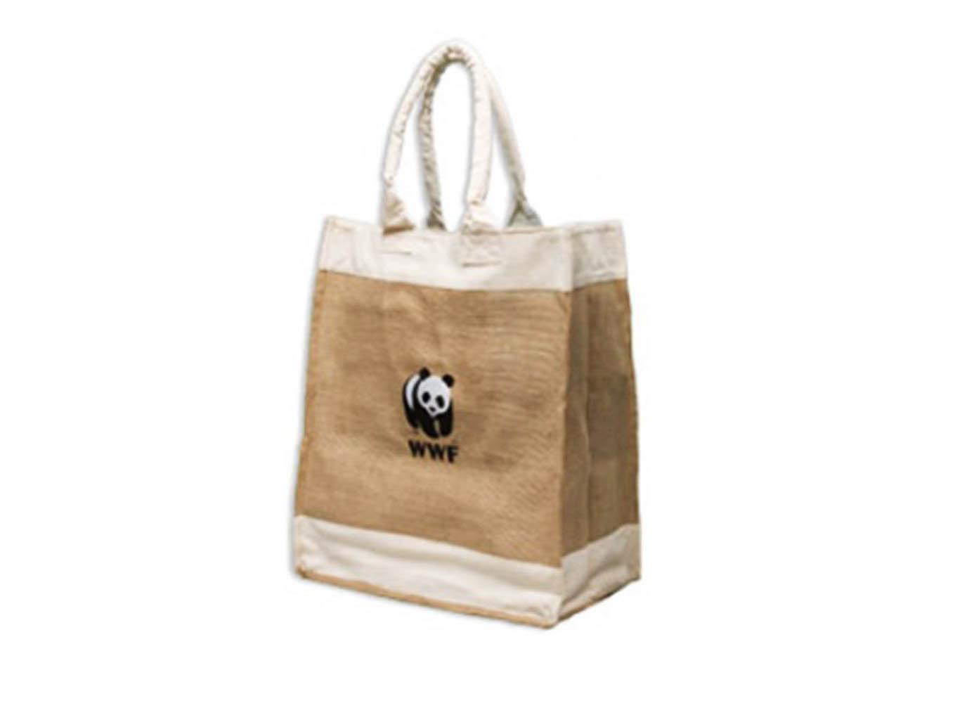 Custom Imprint Jute/Cotton Canvas Tote Bag