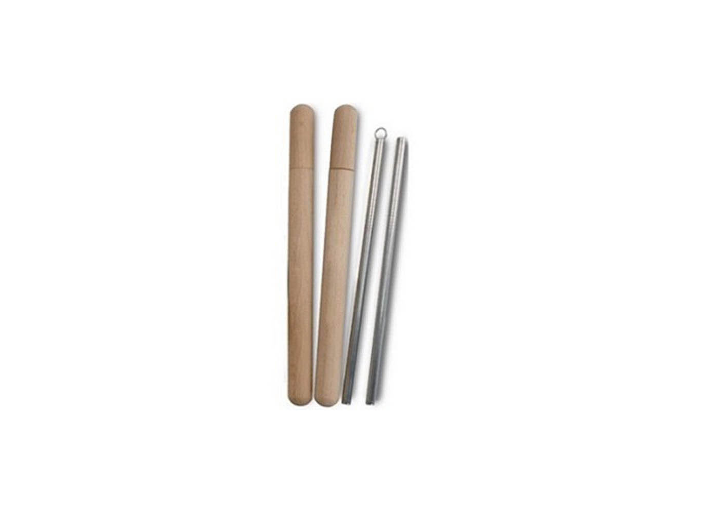 Custom Logo Wooden Straw Case w/ Reusable Straw Set