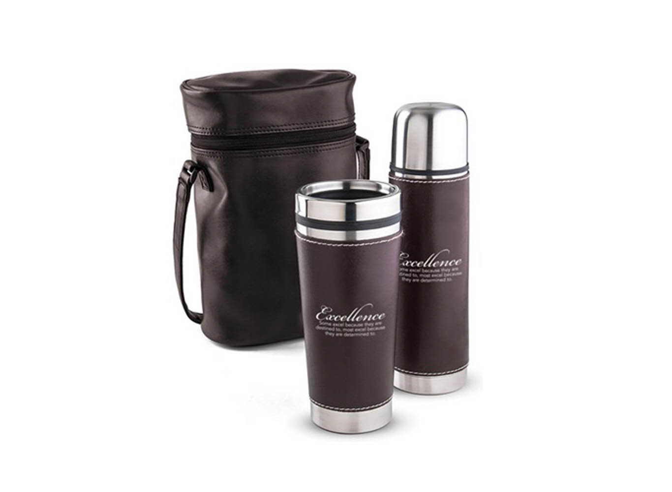 Custom Leather Vacuum Insulated Thermal Flask, Tumbler Bag Set
