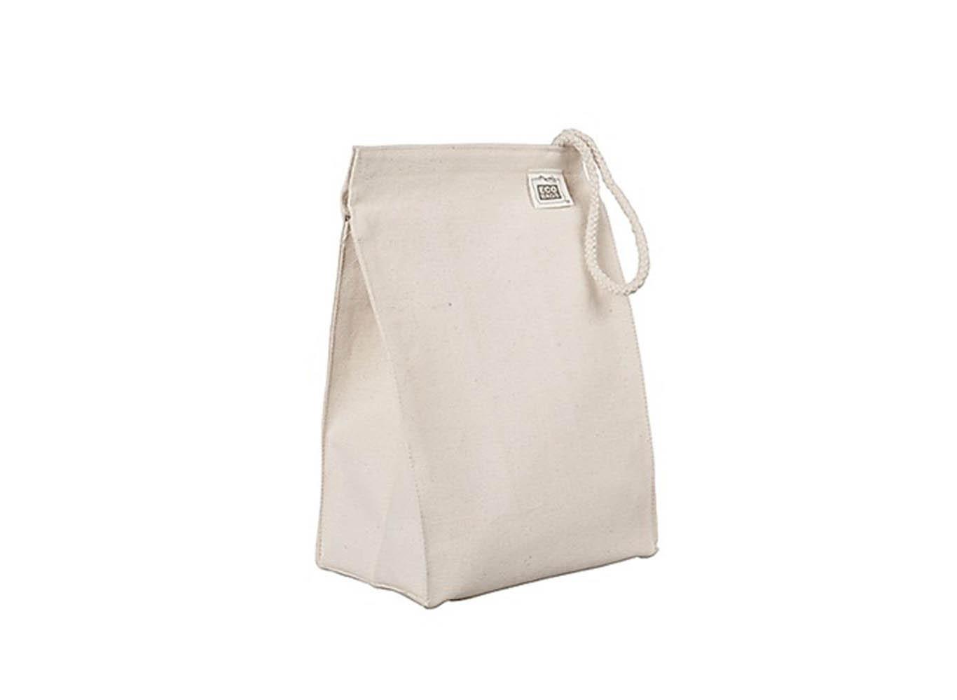 Custom Printed Cotton Canvas Takeaway Lunch Bag w/ Rope Loop Handle