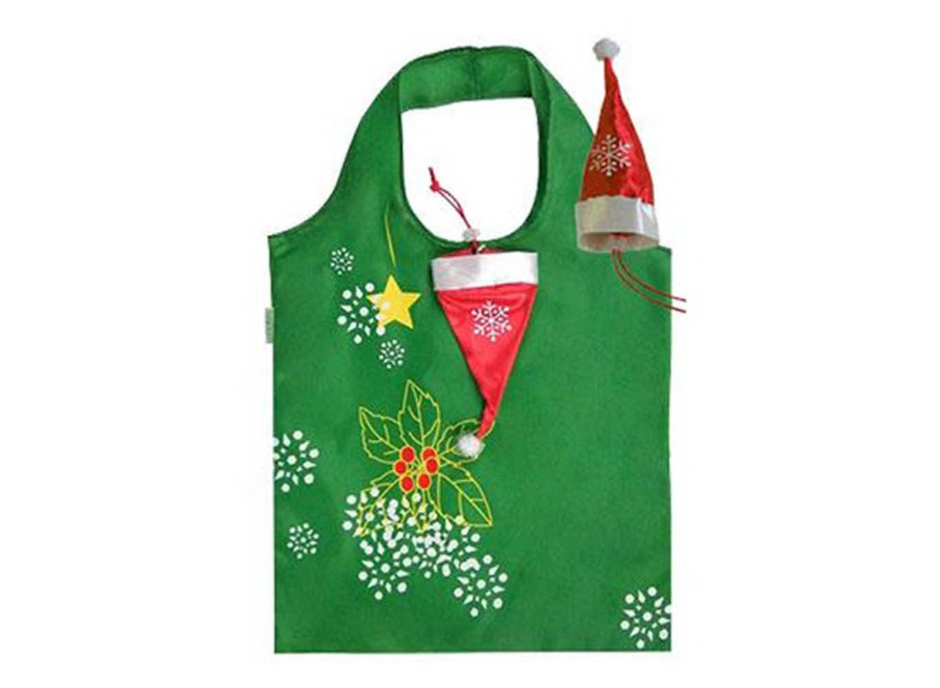 Custom Printed Recycled Plastic RPET Bag w/ Santa Hat Shaped Pouch