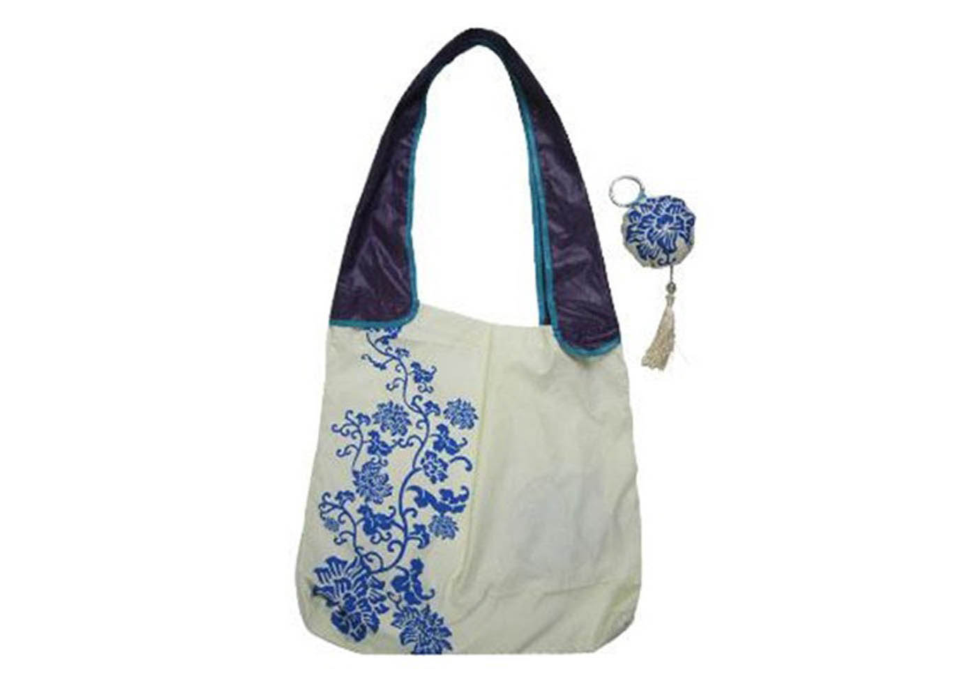 Custom Printed Shoulder Fold-Up Bag in Pouch w/ Tassel Embellishment