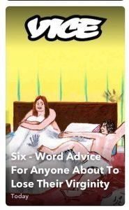 social media discover image for Vice magazine six word advice for anyone about to lose their virginity