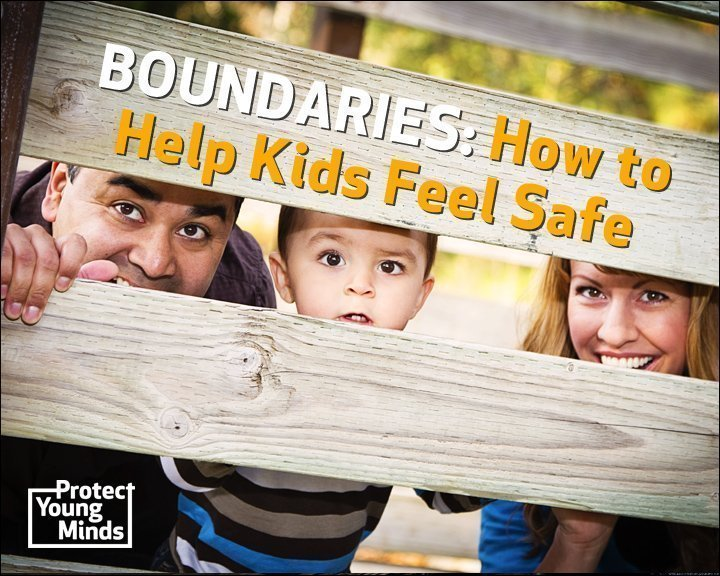 Happy parents and child looking through fence to suggest boundaries and how to help kids feel safe