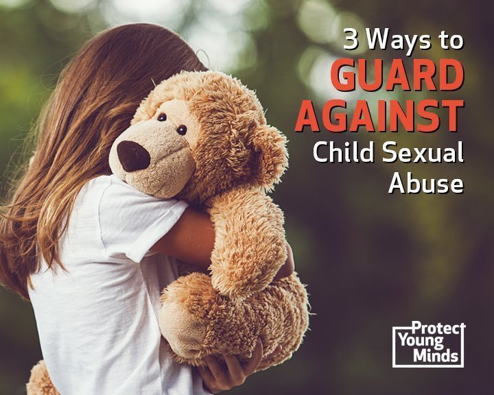 Girl hugging teddy bear guard against child sexual abuse