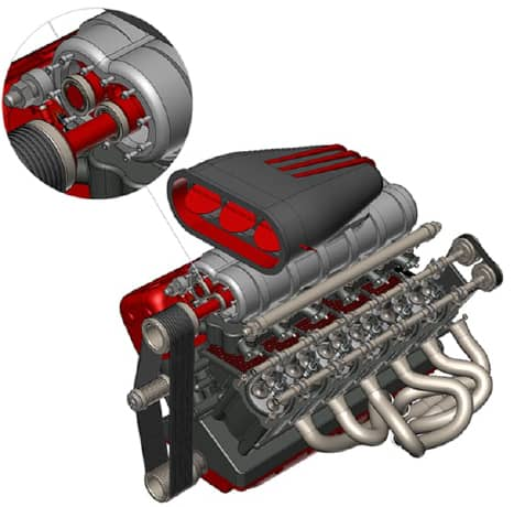 3D rendering of an engine showing a section zoomed in