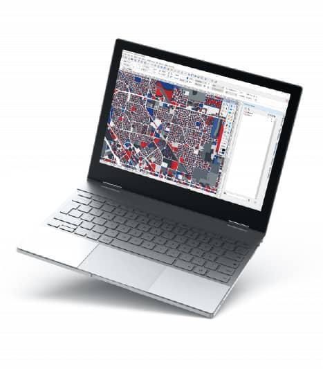 Laptop showing GIS data