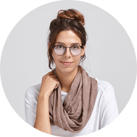 Woman with glasses in a scarf