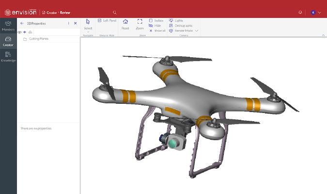 3D CAD model of a drone on Canvas Envision