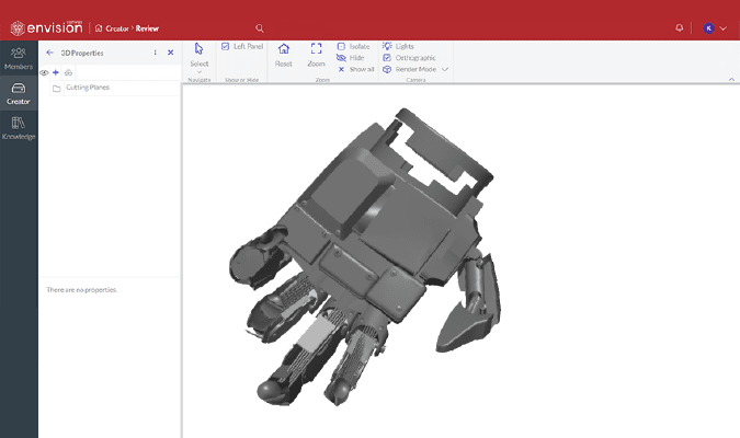 Rendered 3D CAD model hand in Canvas Envision