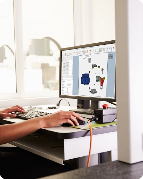 Person works on an exploded 3D CAD model