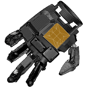 3D CAD model of a robotic hand with parts highlighted