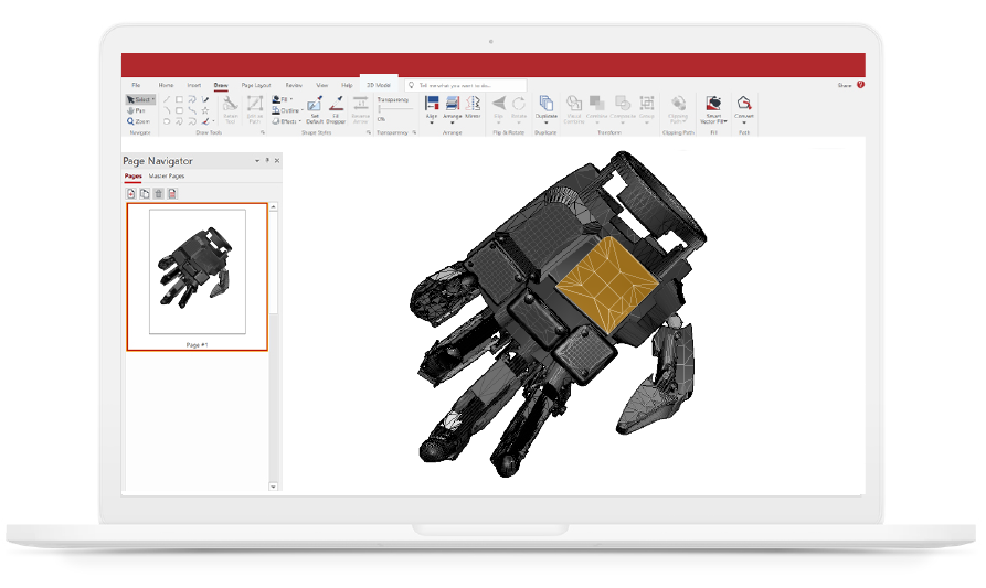 3D CAD model of a robotic hand in Canvas Envision