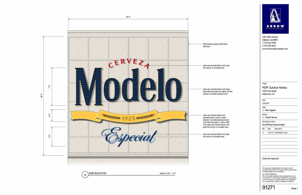 Arrow Sign Company technical design drawing of the Ghirardelli Square sign
