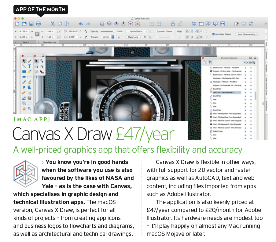 Canvas X Draw's App of the Month listing in Mac Format Magazine