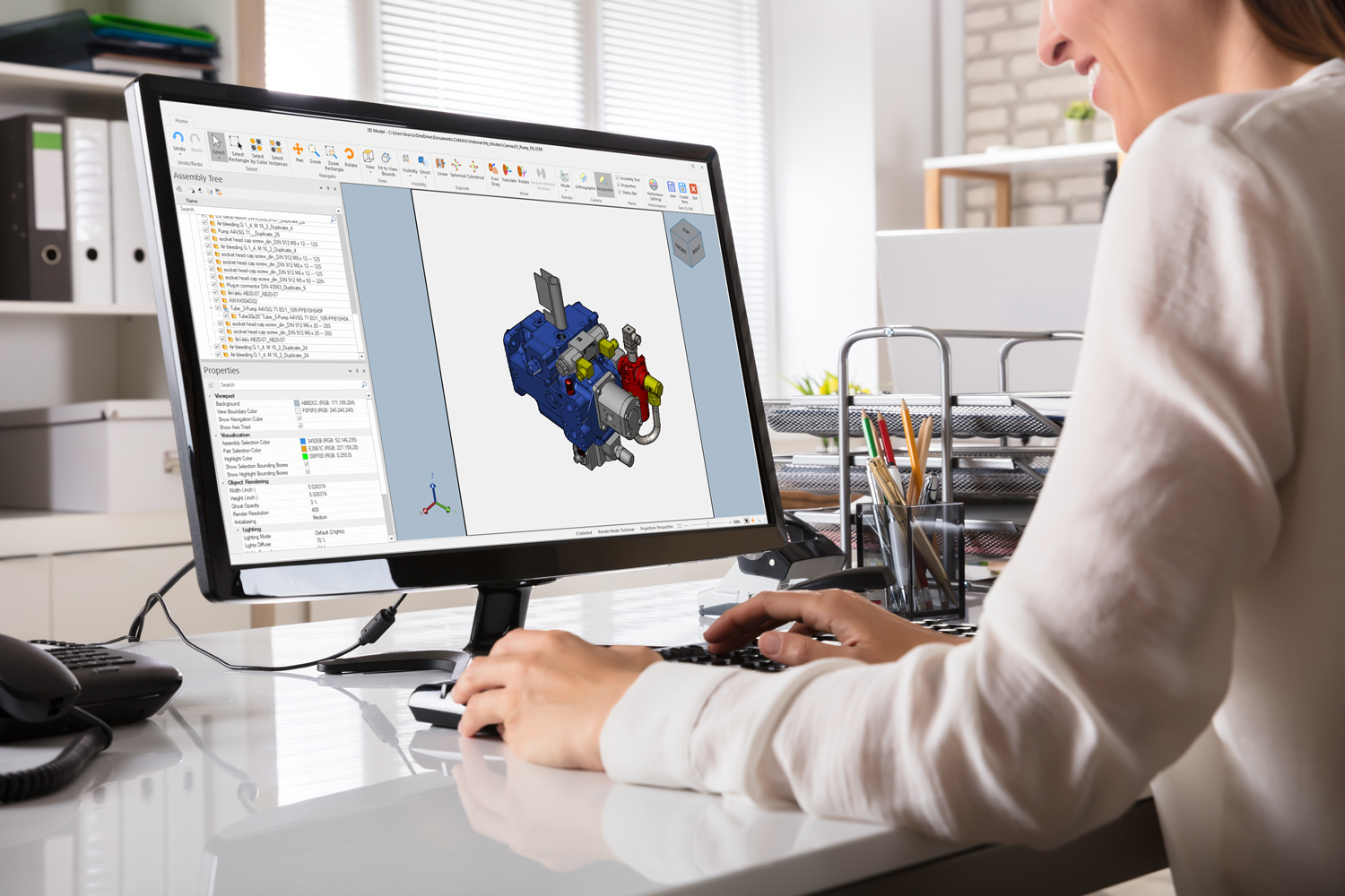 Woman working on 3D CAD model in Canvas X Pro