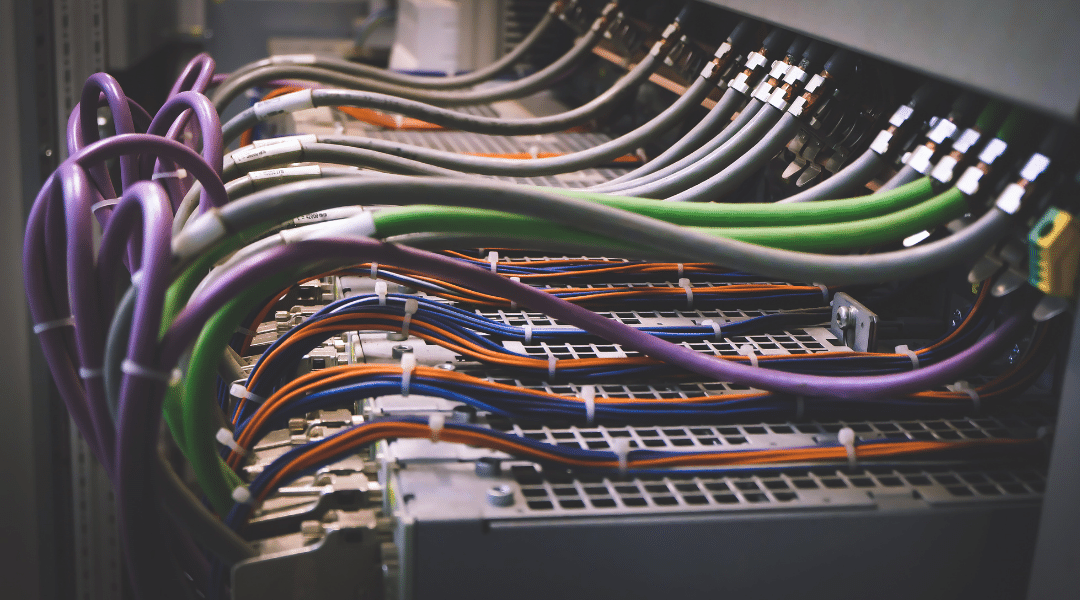 Photo of servers and wiring