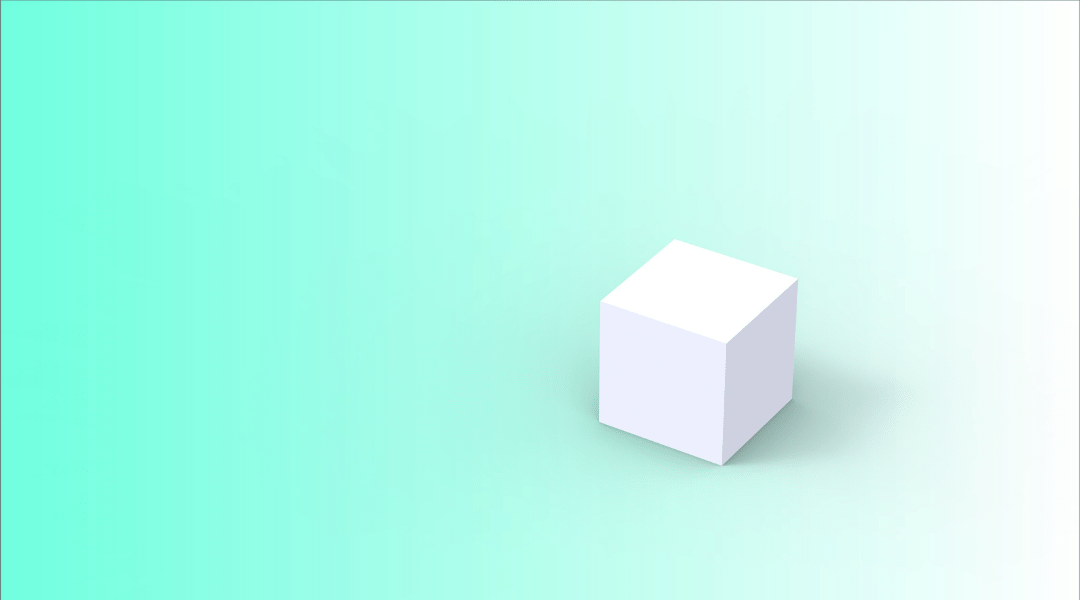 White cube on teal background