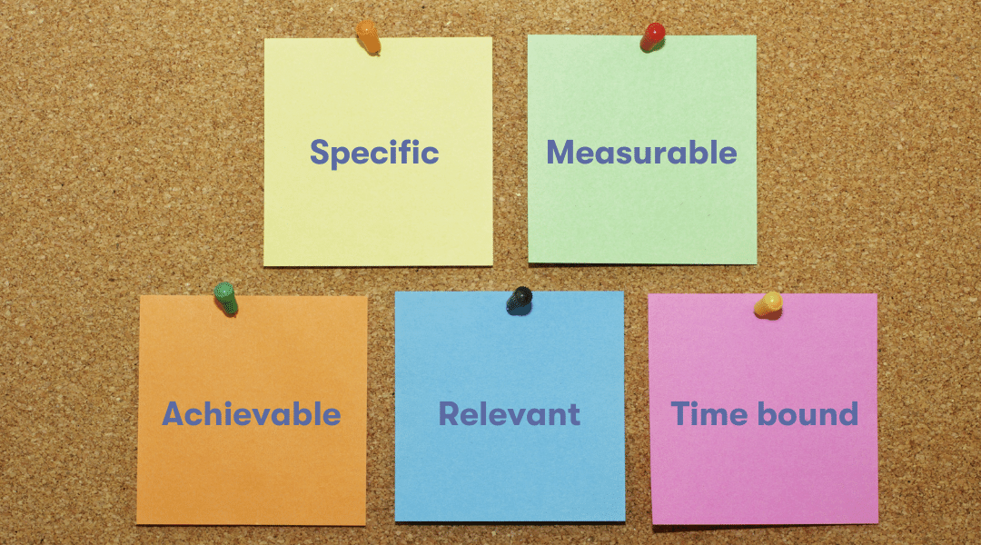 Five post its with the words Specific, Measurable, Achievable, Relevant and Time-bound