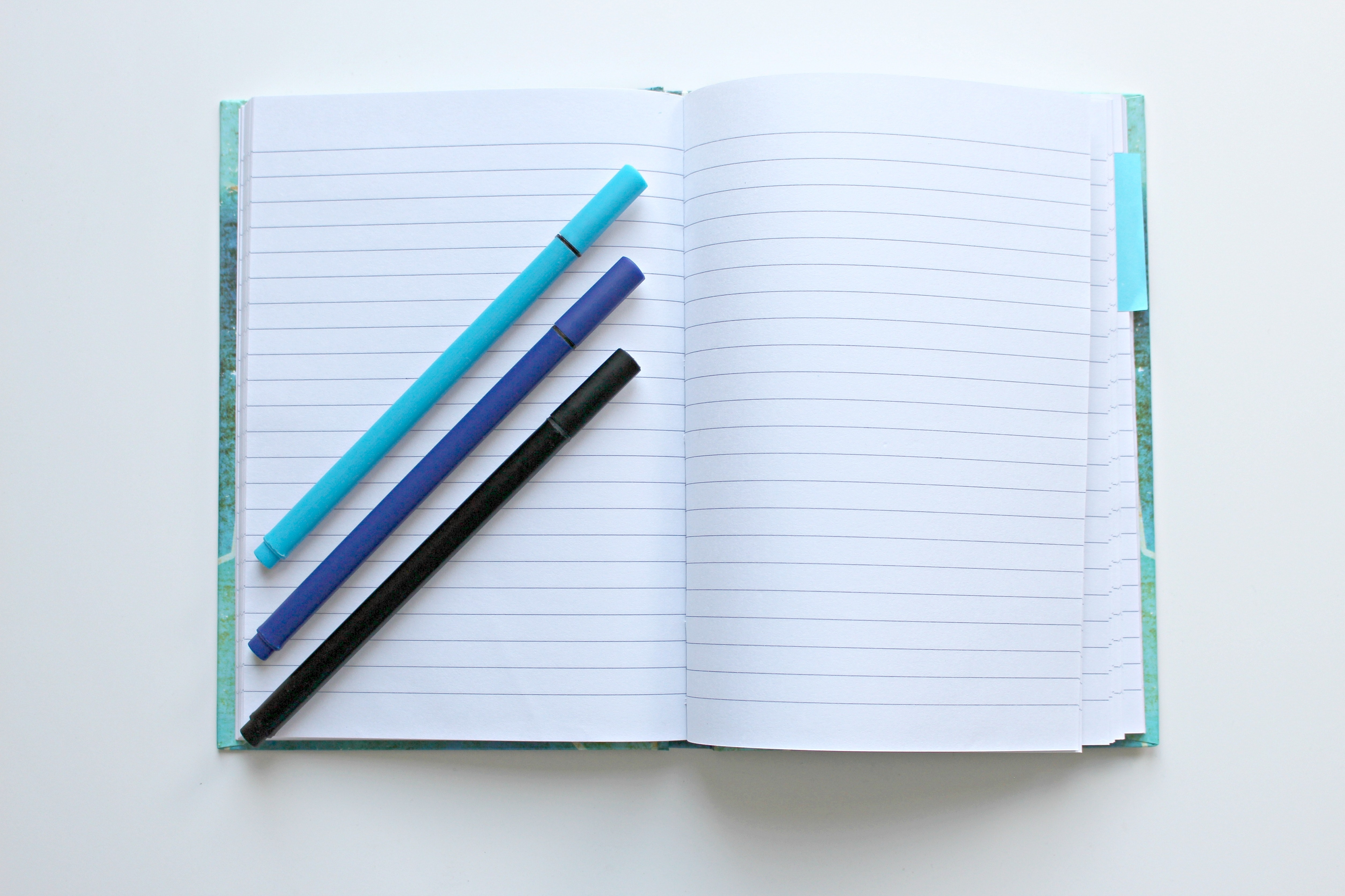 Blank notebook with pens