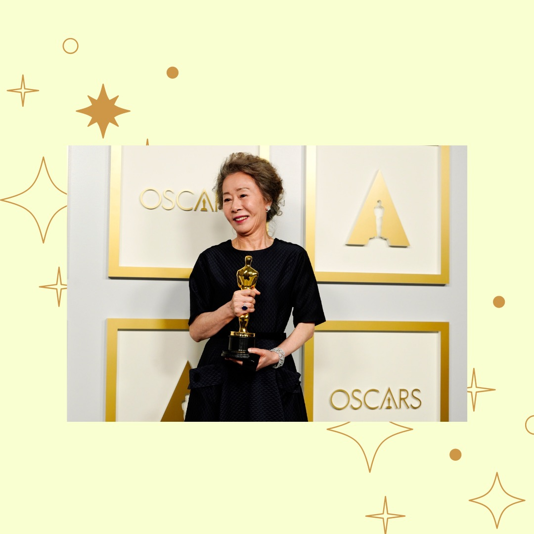 Photo of Youn Yuh-Jung with her Oscar