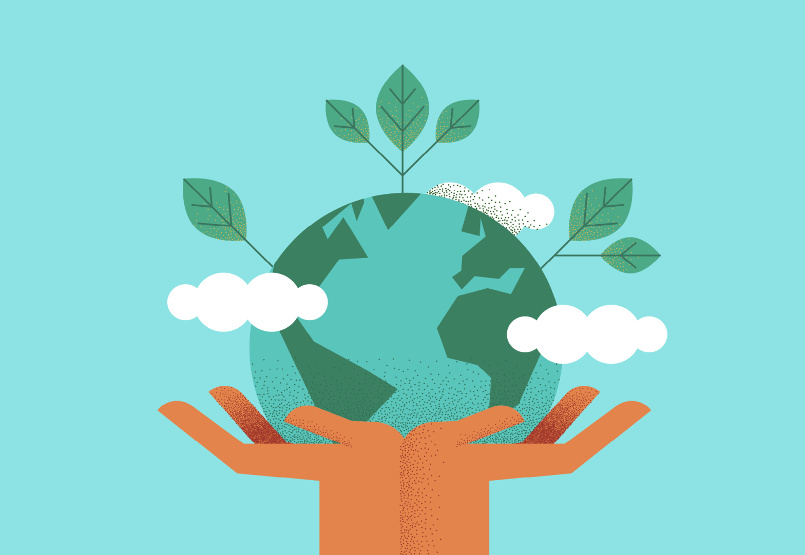 Cartoon of hands holding Earth