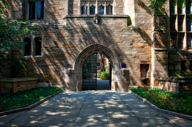 Brick building and gate of Yale University