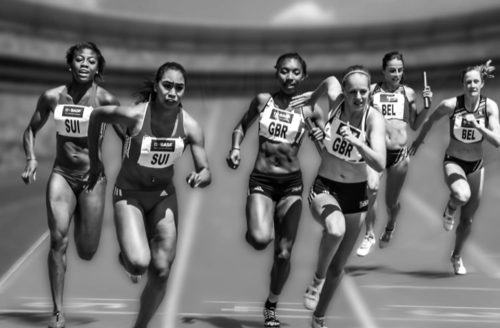 Women's relay race on a track