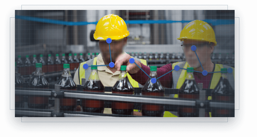Tracked workers on soft drink production line
