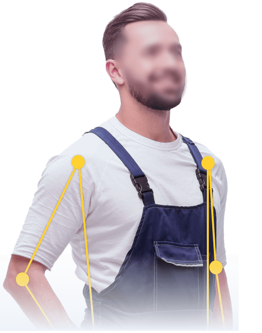 man in blue overall with blurred face