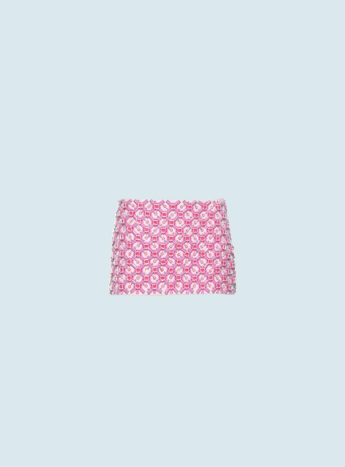 Embroidered Cady skirt tamarind pink