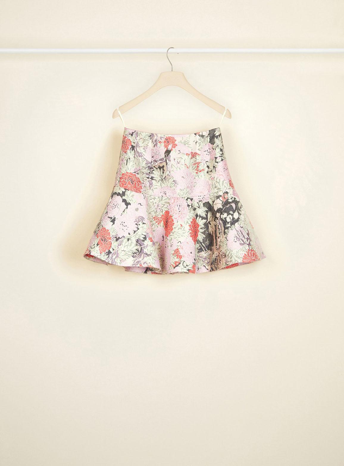 Cotton jacquard 3D mini skirt