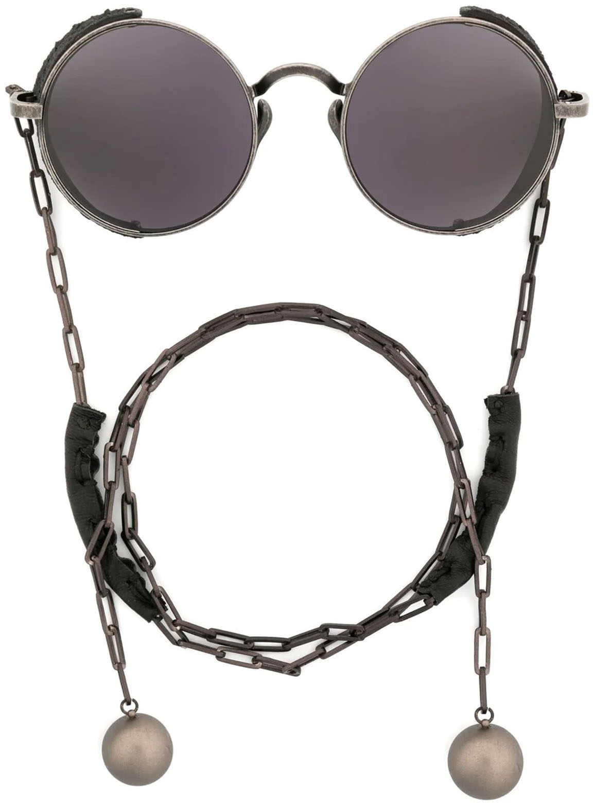 Round frame chain-link sunglasses