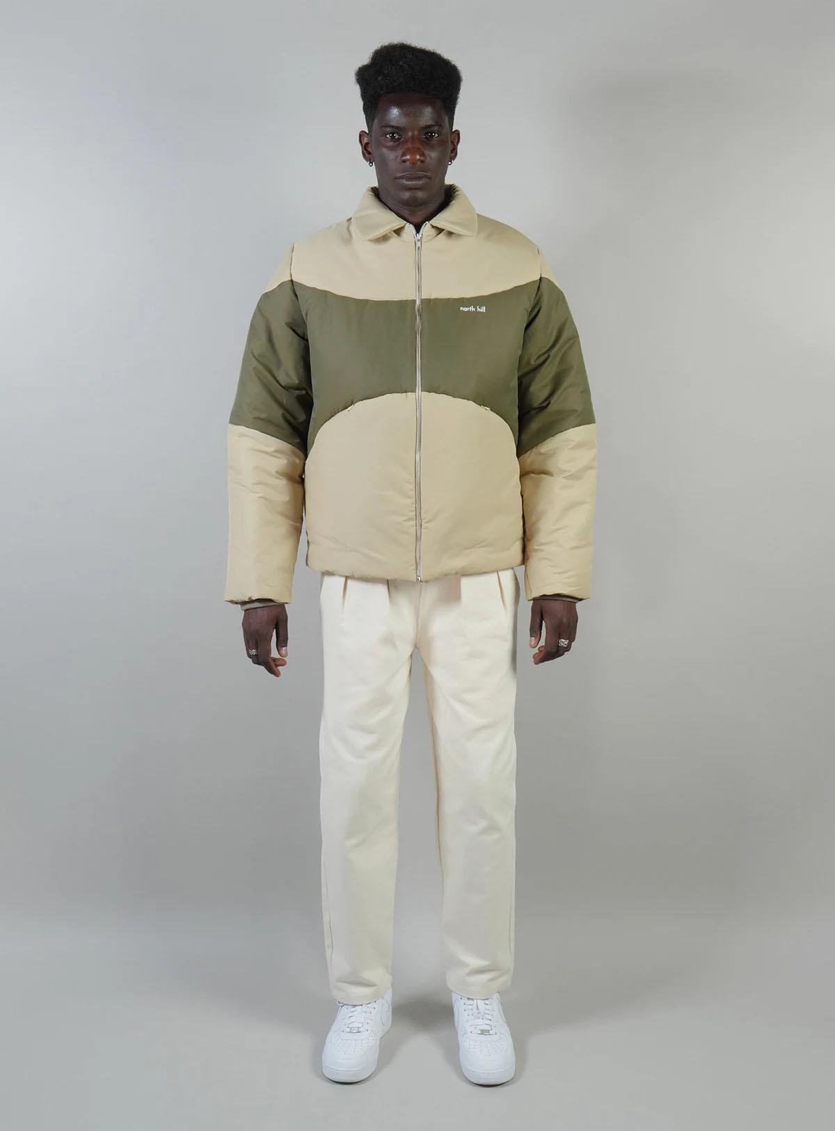 Padded jacket waterproof beige/green
