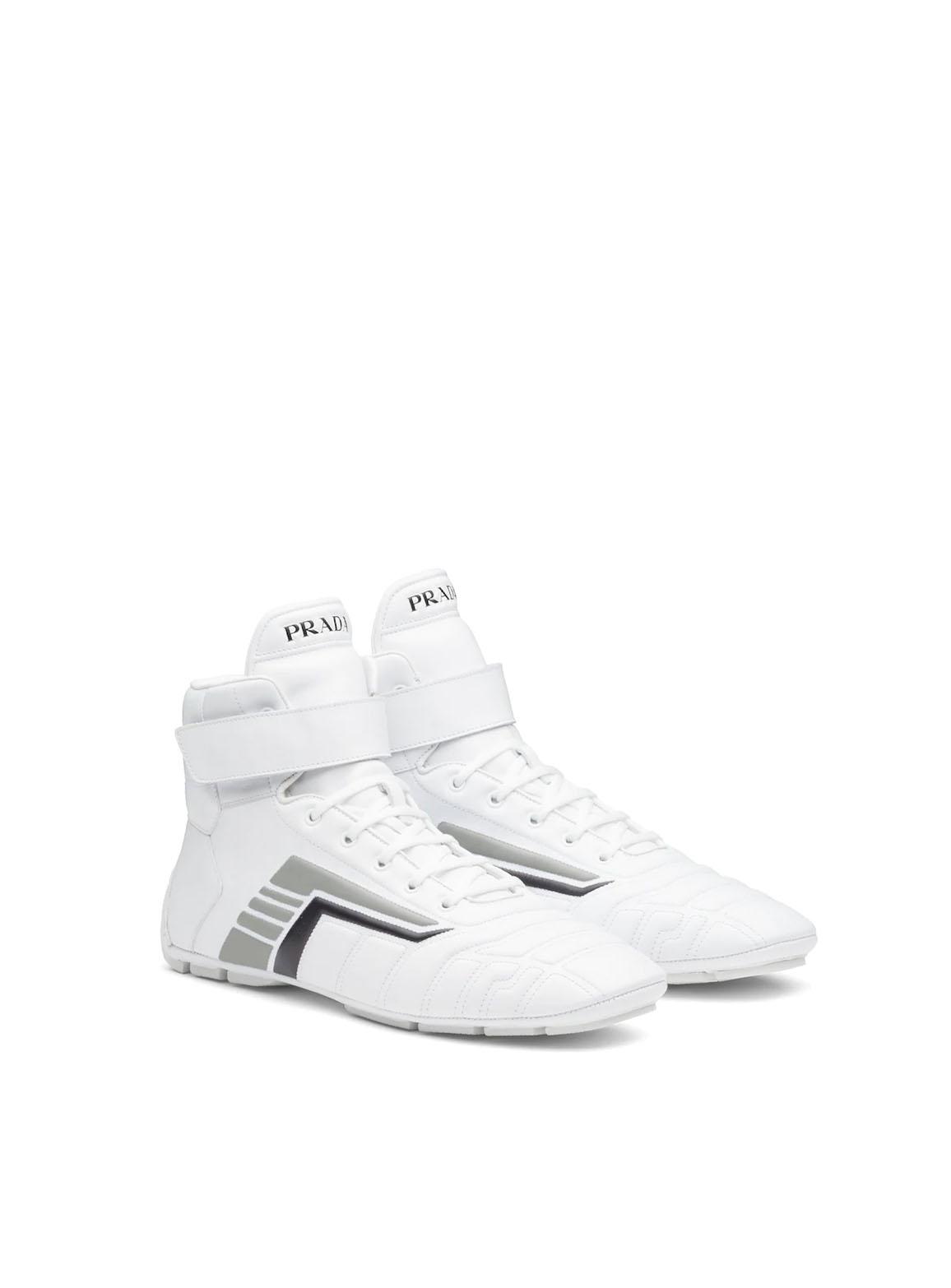 Prada Rev leather high-top sneakers