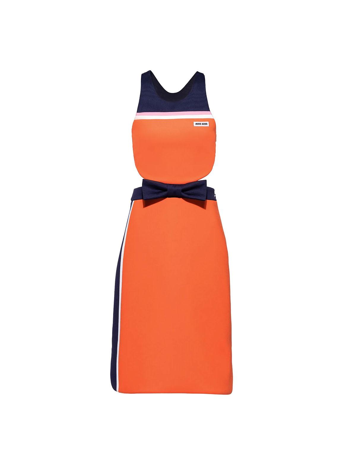 Intarsia technical jersey dress