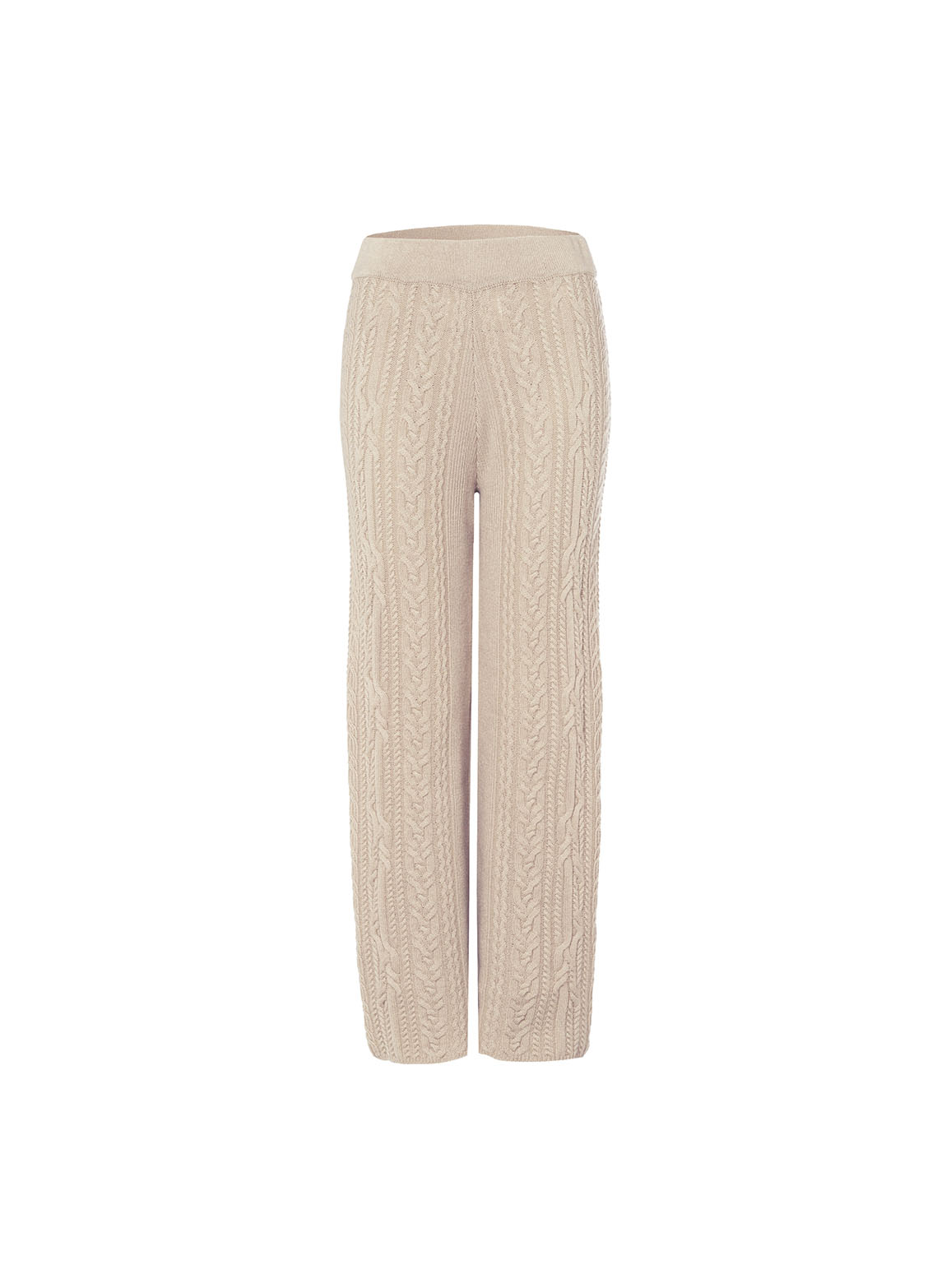 Straight trousers with cable pattern