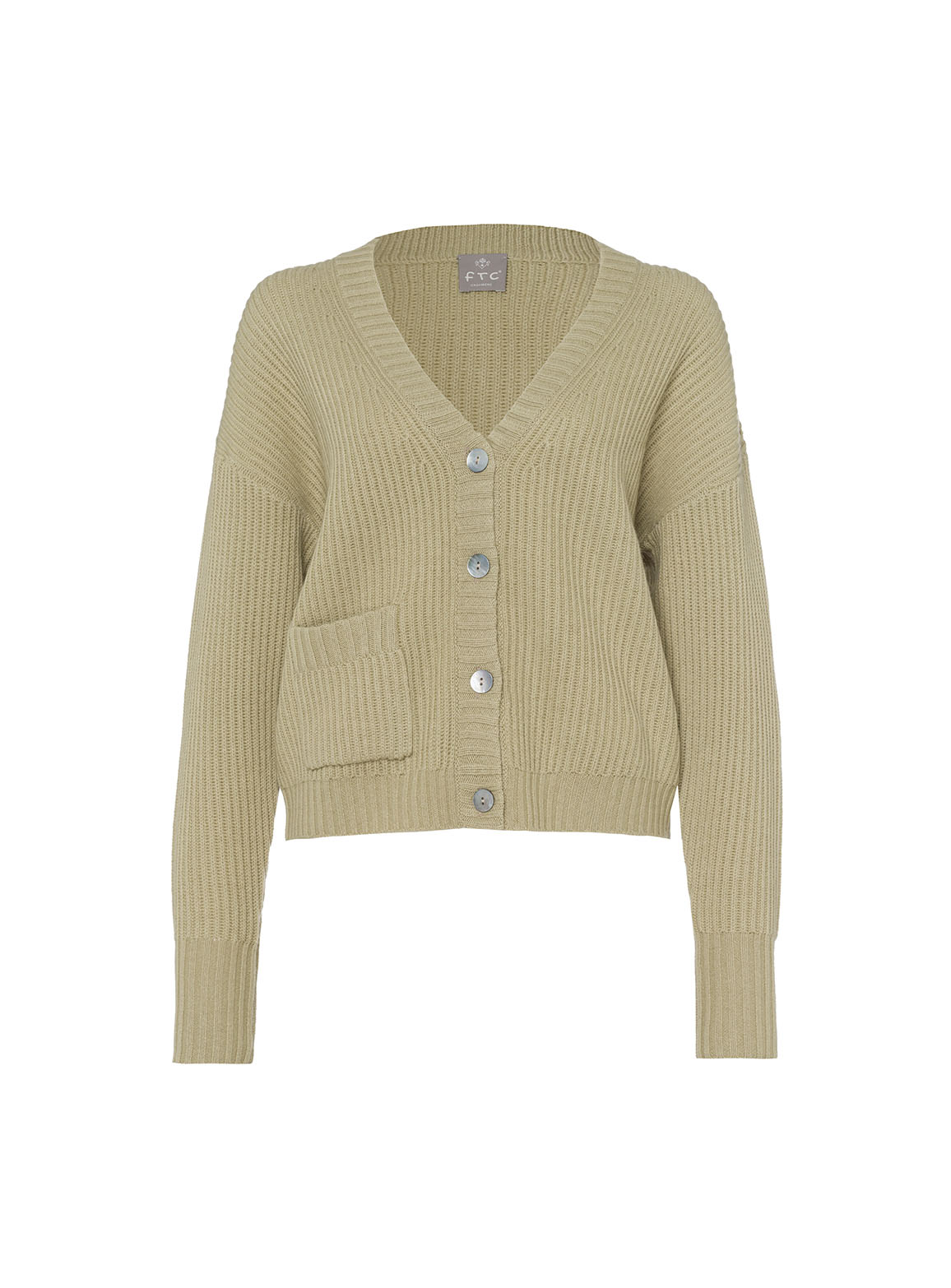 Ribbed Cardigan with pocket
