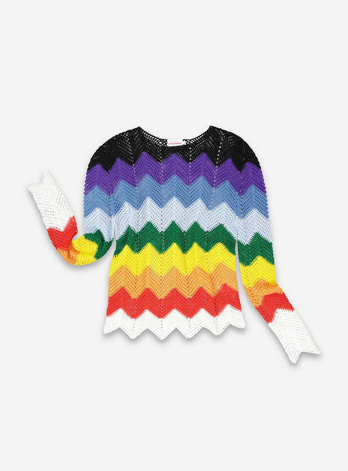 Rainbow crochet jumper