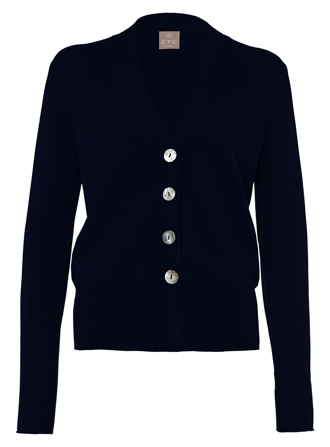 Cardigan with large shell buttons